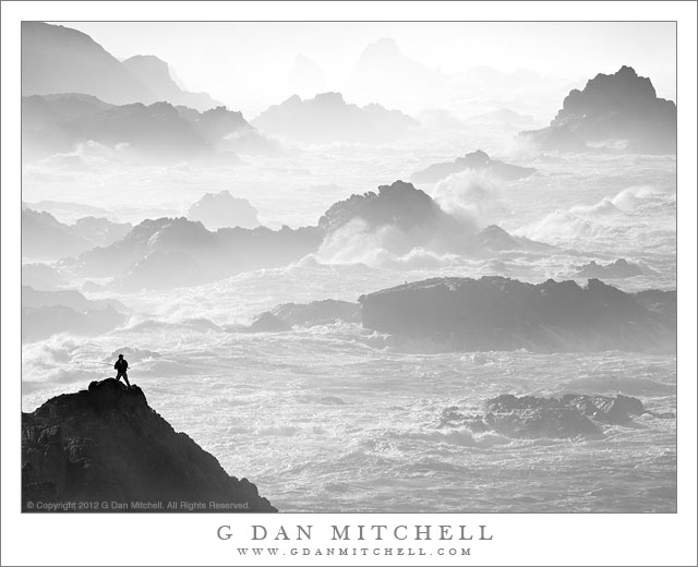 Fisherman, Winter Surf - Big Sur fisherman casts into the roiling winter Pacific Ocean surf.