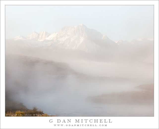 Morning Fog on Hot Creek, Mount Morrison