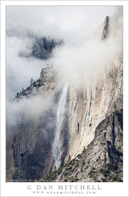 Upper Yosemite Fall and Lost Arrow, Autumn Storm Clouds