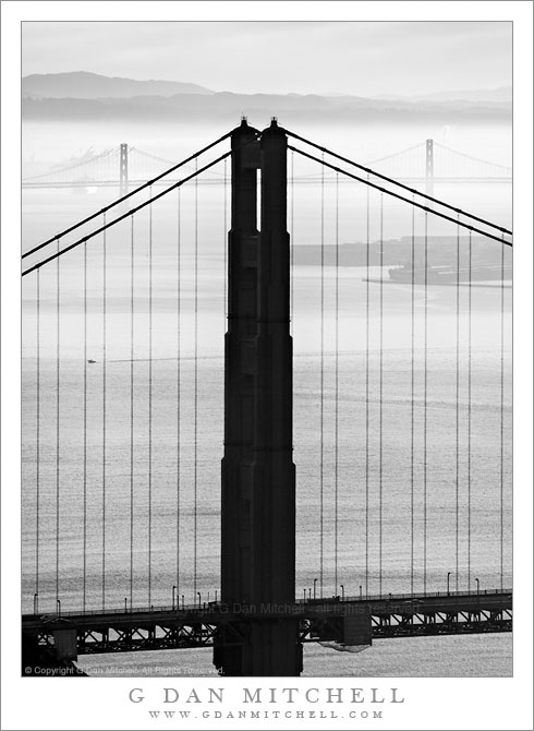 golden gate bridge black and white. North Tower of the Golden Gate