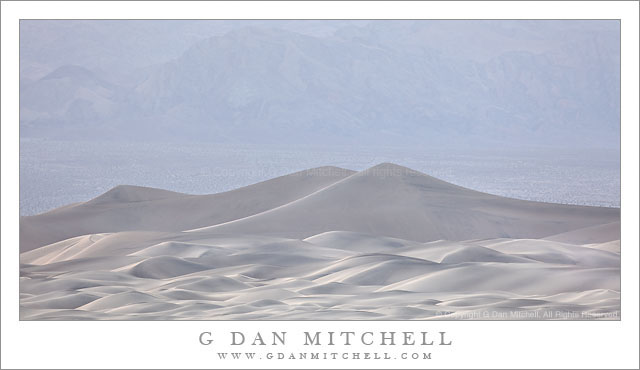 Mesquite Dunes and Cottonwood Mountains - Soft and hazy late-afternoon light on Mesquite Dunes and lower Cottonwood Mountains, Death Valley National Park.