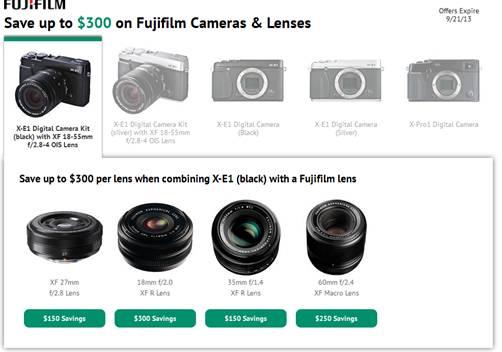 Discounts on Fujifilm X-E1, X-Pro1, and Fujifilm lenses