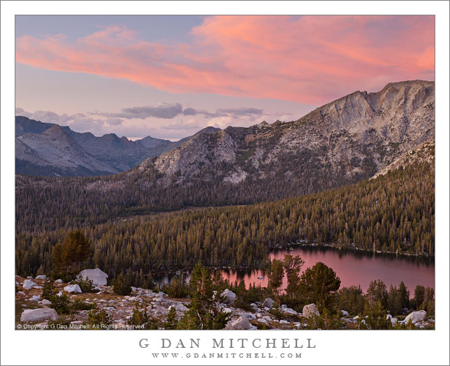 Sunset, Lower McCabe Lake, Shepherds Crest, and Virginia Canyon - Afternoon storm clouds clear from the sunset sky above Lower McCabe Lake, Shepherds Crest, and Virginia Canyon, Yosemite National Park.