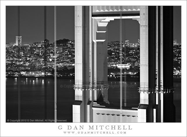North Tower, Golden Gate Bridge, Night - Black and white night photograph of the north tower of the Golden Gate Bridge, San Francisco, California.