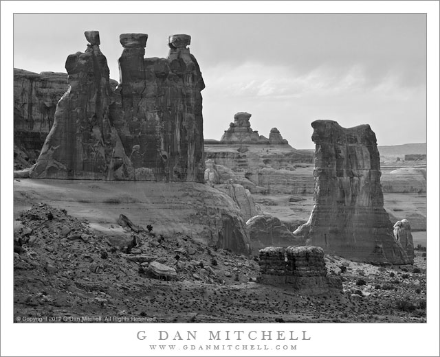 Sandstone Towers, Early Evening - Early evening back-light on sandstone towers and desert terrain, Arches National Park