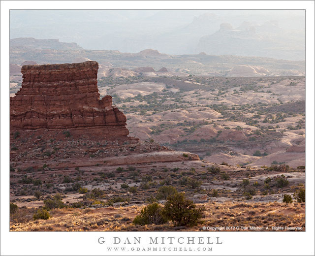Butte and Petrified Dunes, Arches National Park - Morning light on buttes and petrified dunes, Arches National Park