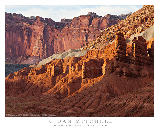 Sandstone Towers and Cliffs - Sandstone towers and cliffs in evening light, Capitol Reef National Park