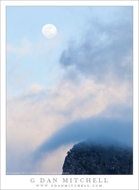 Winter Moon, Clouds, and Granite