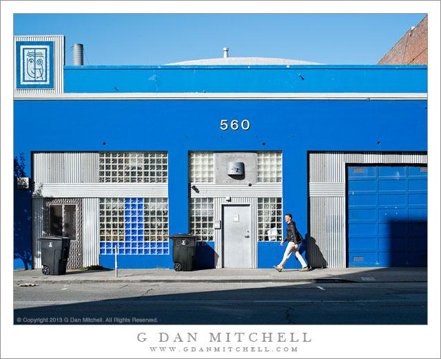 Walking Man, Blue Building