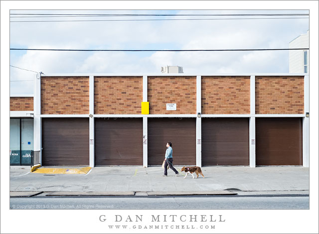 Woman and Dog, Brown Building